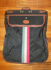 Vintage Lark Garment Canvas Vinyl Leather Trim Red Black Biege Stripe Ykk Zippered Compartments Carry On Garment Bag