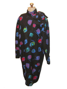 Vintage Anne Crimmins Umi Collection Black Multicolor Graphic Print Avant Garde Big Shoulder Bow Silk Shift Dress