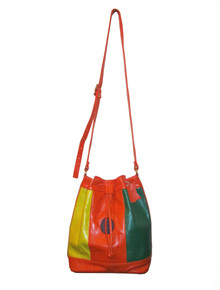 Vintage Rare Bonceil Multicolor Colorblock Bucket Drawstring Shoulder Strap Boho Crossbody Leather Handbag