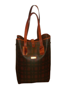 Vintage 1952 Vr. High Quality Rare Multicolor Plaid Canvas Leather Large Tote Shoppers Handbag
