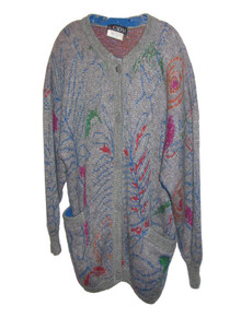 Vintage Escada By Margaretha Ley Grey Multicolor Metallic Slouchy Boyfriend Buttoned Sweater Cardigan
