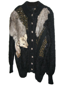 Vintage Fully Fashion Black Metallic Animal Print Beads Sequins Embroidery Coyote Embellished Buttoned Sweater Cardigan