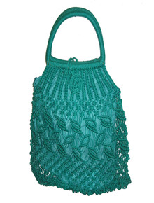Vintage Green Leaf Crochet Macrame Lined Nylon String Tote Handbag