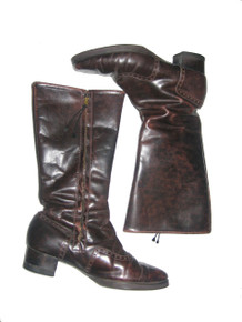 Vintage Brown Faux Shearling Lined Eyelet Zippered Below Knee Mod Leather Boots