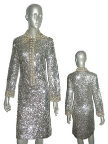 Vintage Made In Hong Kong For Sigal's Park Ave New York 100% Wool Silver Sequins & Beads Embellished Dress