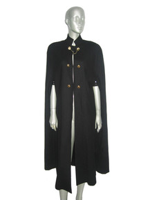 Vintage Black Gold Chains Buttons Military Cape Coat  Wool Jacket