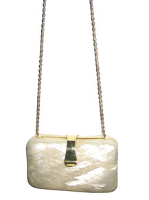 Vintage Biege Gold Diamond Shape Chain Strap Lucite Handbag