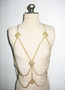 Vintage Gold Stranded Chain Engraved Multifunctional Body Chain Necklace Belt