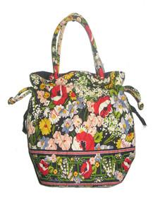 Vintage Vera Bradley Multicolor Floral Print Diamond Shape Quilted Little Tote Handbag
