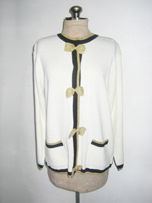 Vintage Cervelle White Black Metallic Gold Lurex Bows Buttoned Sweater Knit Striped Cardigan Jacket w/ Pockets