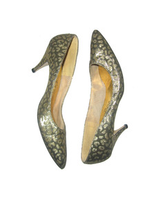 Vintage Sugar Metallic Gold Animal Print Brocade High Heel Pump Shoes