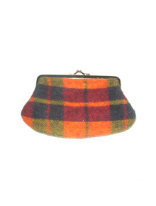 Vintage Ingber Multicolor Tartan Plaid Wool Gold Metal Small Wallet Clutch Purse