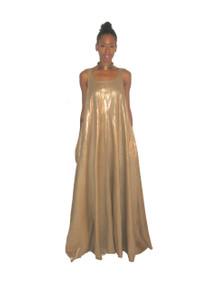 POYZA Metallic Gold Linen Cotton Sleeveless Long Flared Pocket Multifunctional Bridesmaid Jumper Dress Size Small-Extra Large Made To Order