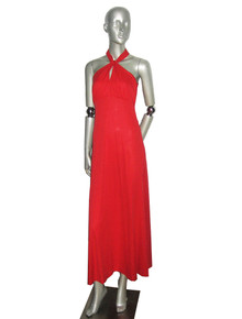 Vintage Red Hot Knotted Halter Top Long Disco Grecian Goddess Dress