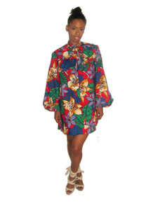 POYZA Multicolor Floral Leaf Tropical Print Stand Up Ascot Tie Neck Long Poet Sleeves Short A-Line Tent Dress