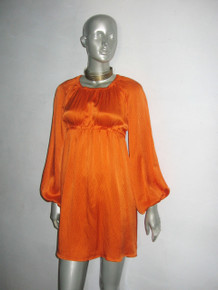 POYZA Orange Hammered Silk Long Puff Poet Sleeve Short Mini Smock Dress