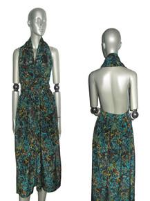 Vintage Green Multicolor Printed Plunging V-Neck Halter Gathered Adjustable Waist Tie Wrap Dress