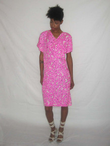 Vintage Designer Troa Cho Pink Black White Floral Printed 100% Silk Unusual Asymmetrical Shirred Big Bow Buttoned Dress