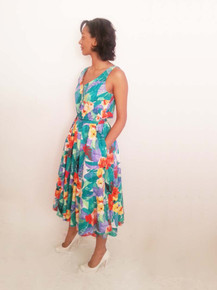 Vintage Stan Herman Vibrant Multicolor Floral Print Buttoned Scoop Neck Reversible Sun Dress
