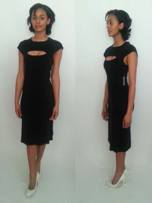 Vintage Designer Sonia Rykiel Paris  Black Peek-a-boo Cut-Out Cap Sleeve Fitted Knit Dress