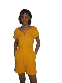 Vintage Ronnie Heller Mustard Yellow Expose Zipper Pleated Romper Jumpsuit