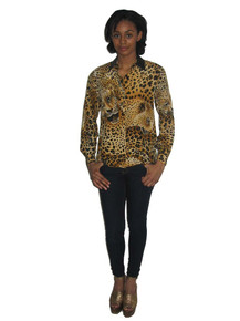 Vintage Leopard Cheetah Animal Print Leather Trim Buttoned Blouse