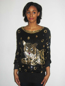 Vintage Black Gold Silver Sequins Multicolor Beads Embellished Big Leopard Design Dolman Sleeve Slouchy Multifunctional Slouchy Tunic Blouse Micro Mini Short Dress