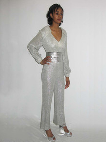 Vintage Mr. Mort  By Stan Herman Iconic Metallic Silver Lurex V-Neck Wide Leg Mod Disco Bodysuit Jumpsuit