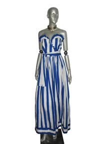 Vintage Albert Capraro Blue White Stripe Ruffled Strapless Long Dress w/ Belt