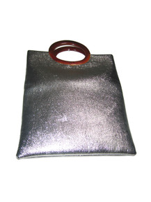 Vintage Metallic Silver Amber Plastic Double Handle Lined Tote Cute Mod Handbag