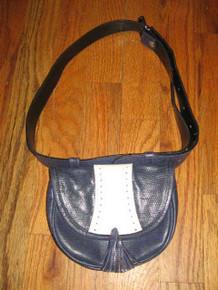 Vintage Mondi  Accessoires Blue White Eyelet Buckled Belt Leather Fanny Bag w/ Fringe Tassels