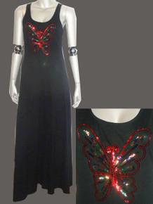 Vintage Black Multicolor Large Butterfly Sequins Design Sleeveless Long Disco Dress