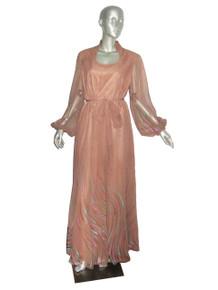 Vintage Biege Multicolor Painted Print Chiffon See Thru Sheer Poet Sleeve Long Disco Dress w/ Matching Sash Belt