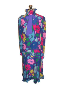 Vintage Marion Maged Multicolor Floral Print Ruffle Ascot Tie Neck Drop Waist Silk Dress