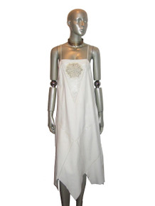 Vintage White Leather Sequins Pointelle Holes Handkerchief Hem Strappy Dress