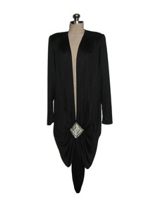 Vintage Jovani Black Avant Garde Flapper Art Deco Beads Rhinestone Embellished Plunging Neck Slouch Dress w/ Sash