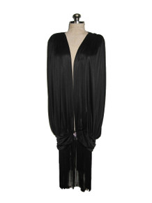 Vintage Black After Dark Avant Garde Plunging Neck Flapper Gatsby Rhinestone Fringe Dress