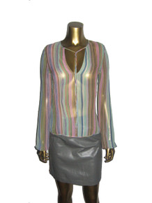 Vintage Multicolor Vertical Stripe Plunging Tie Neck Long Sleeve See Thru Sheer Lightweight Caftan Silk Blouse