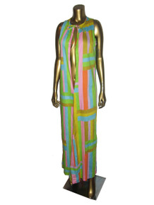 Vintage Vibrant Multicolor Striped Sleeveless Tie Neck Deep V Long Boho Caftan Dress