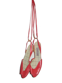 Vintage Pappagallo Plus Watermelon Plaid Shoe Lining Peep Toe Tie Up Strappy Leather Sandals Shoes