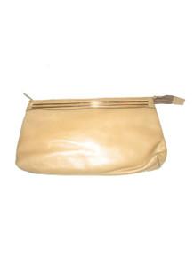 Vintage Letisse Beige Gold Large Leather Clutch Handbag