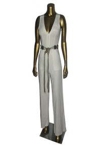 Vintage Off White Pockets Wide Leg Safari Jumpsuit w/ Macrame Fringe Belt