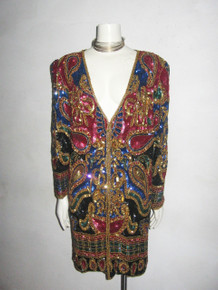 Vintage Multicolor Heavily Embellished Beads Sequins Paisley Long Slouchy Glam Trophy Jacket Dress