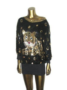 Vintage Black Gold Silver Sequins Multicolor Beads Embellished Big Tiger Design Glam Dolman Sleeve Multifunctional Slouchy Tunic Blouse Micro Mini Short Dress