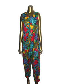 Vintage Multicolor Floral Print Sleeveless Playsuit Romper Jumpsuit
