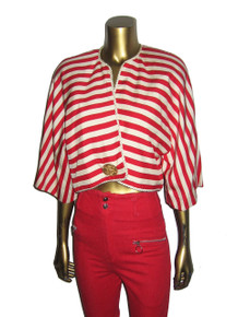 Vintage Red Off Whited Horizontal Mitered Stripe Kimono Sleeve Cropped Bolero Silk Jacket