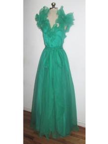 Vintage Bonwit Teller Green Chiffon Organza Formal Gown Long Dress w/ Long Sash Belt