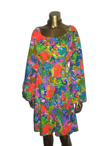 Vintage Multicolor Vibrant Bold Psychedelic Polynesian Printed Short Dress
