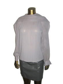 Vintage Joseph Le Bon Boutique Grey Vertical Stripe Cowl Shawl Neck Blouse