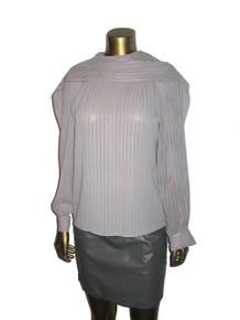 Vintage Joseph Le Bon Boutique Grey Vertical Stripe Cowl Shawl Neck Blouse